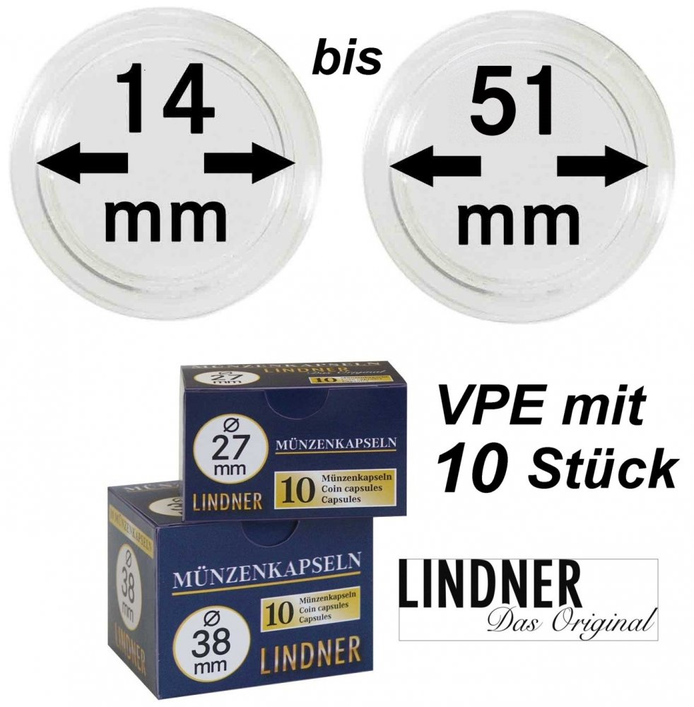 LINDNER Münzkapseln     14-51 mm VPE 10 Stück
