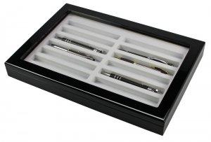 Holz Vitrine schwarz für 12 Schreiber Stifte SAFE 5908