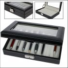 Schreibgeräte-Koffer Stift-Schatulle für 8 Schreiber schwarz/beige