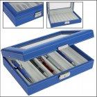 Schreibgeräte-Koffer Stift-Schatulle für 8 Schreiber blau/beige