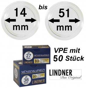 LINDNER Münzkapseln    14-50 mm VPE 50 Stück
