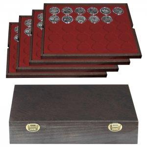 Münzkassette 323x263x61mm CARUS Holz mit 4 Einlagen Lindner 2494
