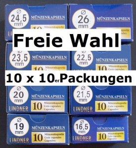 LINDNER Münzkapseln   14-50 mm VPE 10x10=100 Stück freie Wahl