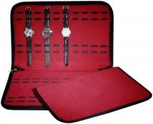 Mappe Etui Tasche für 20 Uhren Schwarz/Rot 39x26cm