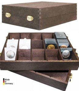 Holzbox für Münzrähmchen 50x50 Kapseln CARRÉE & QUADRUM* Lindner 2245