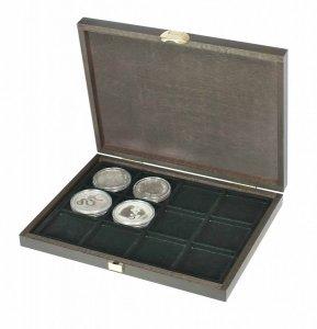 Münzkassette 250x190x30 CARUS XM Holz für 12 Münzen Lindner S2489-12