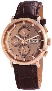 Armbanduhr Automatik Roségold Braun Edelstahlarmband Engelhardt 388231529007