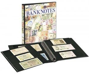 Banknoten Ringbinder mit 10 Blatt schwarze Zwischenblätter Lindner 3701S